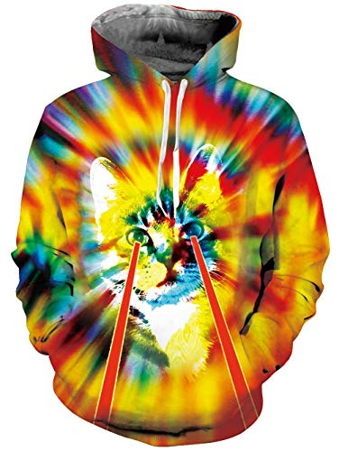 Colorful Cat (Loveternal Unisex Colorful Cat Hoodie 2018 Fashion Shining Hooded Pullover Sweatshirt for Women Men S)