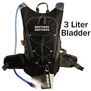 Lightweight Hydration Backpack Bladder Pack Daypack with 3 Liter/100 oz Reservoirs Water Bladder Bag for Hiking, Running, Camping, Climbing, Cycling, Walking, Hunting (Black Backpack + 3L Bladder)