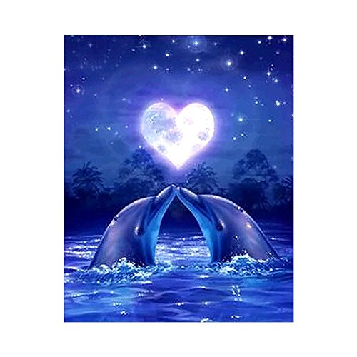 Butterfly Iron Lovely Dolphins 5D Diamond Painting Kits Full Drill DIY Cross Stitch Rhinestone Pasted Handmade Gift -