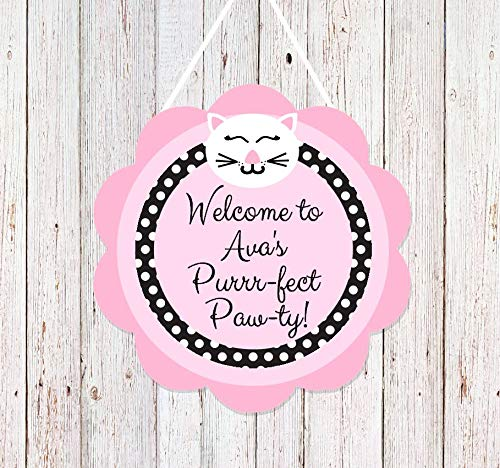 Cat Party Door Welcome Sign Personalized Pink and Black Decorations for Purrrfect Birthday Party