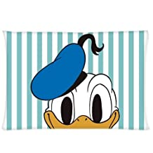 Donald Duck Stripe Mickey Mouse Club House Cartoon Pillowcase 20x36 (Twin sides) Zippered Rectangle PillowCases Throw Pillow Covers