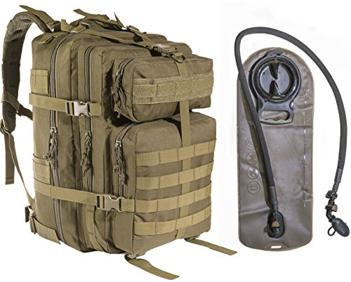 45L Large Military Tactical MOLLE Backpack With 2.5L Hydration Bladder by MonkeyPaks Bug Out Bags, Assault Pack, Hunting, Hiking Rucksack (Tan)