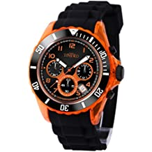 TIME100 Teenager Silicone Strap Sport Watch Fashion Multifunctional Environmental Watches (Black&Orange)
