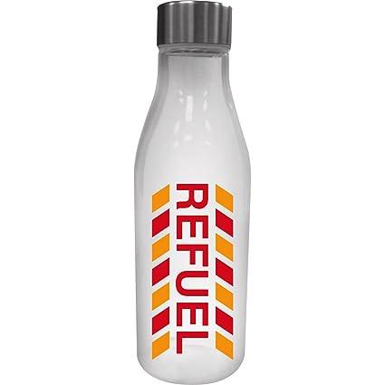 Cristal repostar botella de agua con tapa de metal