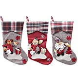 Kesoto 3 Pieces 3D Christmas Stockings Xmas Stocks for Decoration, 18 x 8 inches