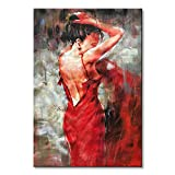 Seekland Art Hand painted Red Sexy Girl Abstract Canvas Wall Art Impression Figure Oil Painting Modern Contemporary Artwork Fine Pictures Unframed (2024 inch)