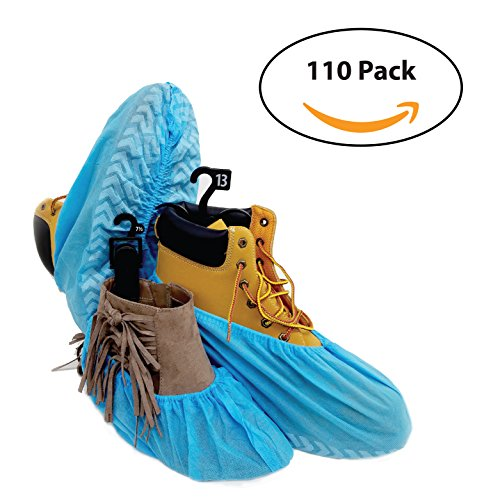 110 Premium Disposable Boot & Shoe Covers by PedaShield | Booties are Large, Durable, Water Resistant, Blue, Recyclable | One Size Fits Up to XL Men