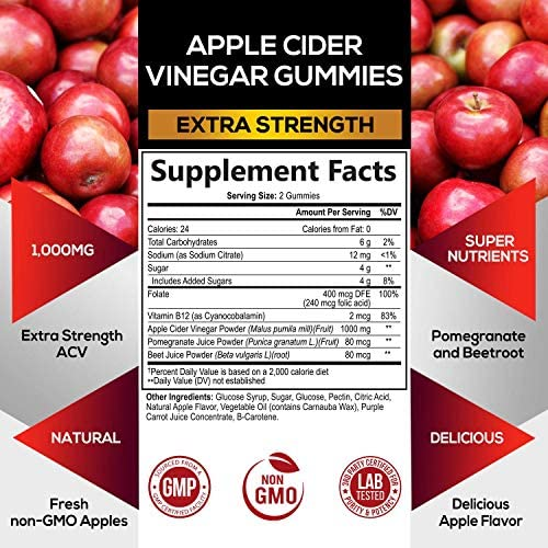 Apple Cider Vinegar Gummies for Natural Weight Support 1000mg - Delicious ACV Gummy Vitamin with The Mother - Cleanse - Folic Acid, Beet Juice, Pomegranate - Non-GMO - 60 Gummies 2