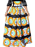 Alion Skirts for Women,High Waist Africa Print Pleated Swing Maxi Skirts 1 XS