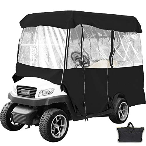 "Happybuy Golf Cart roof up to 79"" L Golf Cart Covers 4 Passenger Premium Tight Weave Ezgo Golf Cart Accessories Travel 4-Sided Fits Club Car(Black 011)"