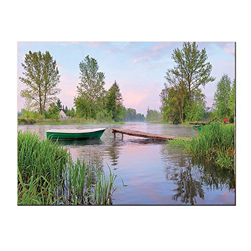 SATVSHOP Print on canvas-24Lx24W-Lake House Ural Landscape on Lak IDE Boat TRE Grass Clouds and Boardwalk Countryside Green Blue Brown.Self-Adhesive backplane/Detachable Modern Decorative Art.]()