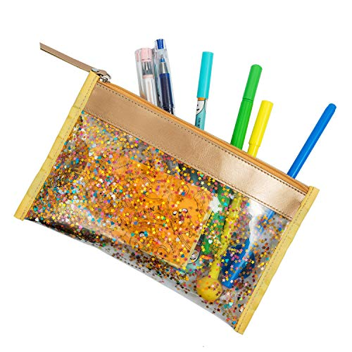 (CTUNES Glitter Clear Pencil Pen Case Star Sequin Cosmetic Makeup Bag Zipper Pencil Pouch for Travel, School & Office Supplies - Gold )