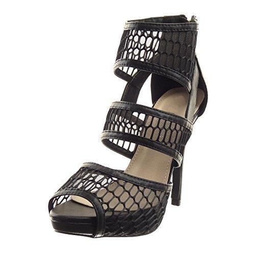 Sopily - Zapatillas de Moda Tacón escarpín Sandalias Stiletto Low boots Caña baja mujer acabado costura pespunte multi-correa fishnet Talón Tacón de aguja alto 12 CM - Negro