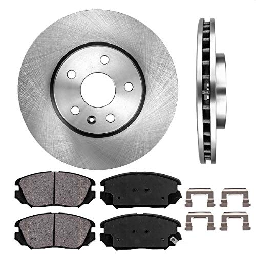 FRONT 321 mm Premium OE 5 Lug [2] Brake Disc Rotors + [4] Ceramic Brake Pads + Clips ()