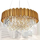 MEELIGHTING Raindrop Gold Modern Crystal Chandelier Lights Luxury Pendant Ceiling Light Contemporary Chandeliers Lighting Fixture for Dining Living Room Kitchen Island Bedroom W32'