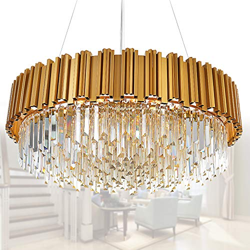 MEELIGHTING Raindrop Gold Modern Crystal Chandelier Lights Luxury Pendant Ceiling Light Contemporary Chandeliers Lighting Fixture for Dining Living Room Kitchen Island Bedroom W28""