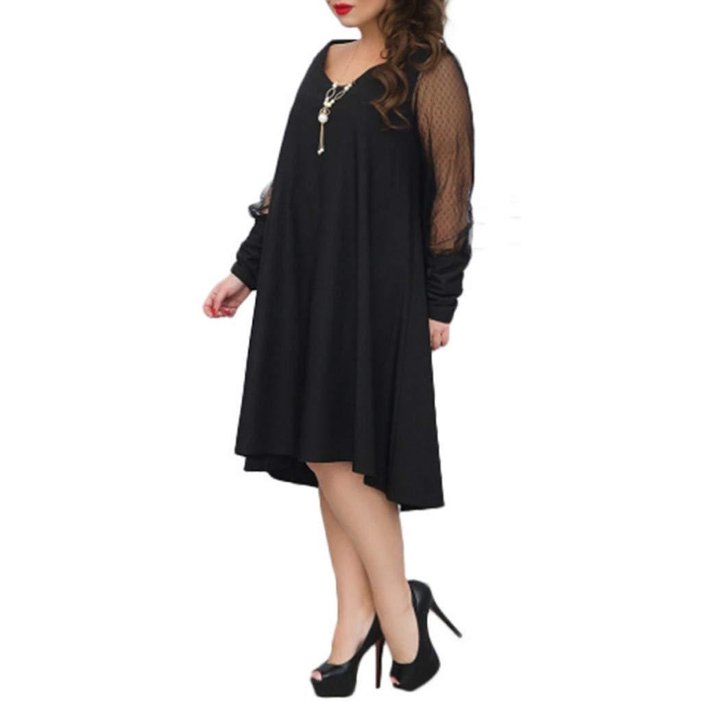 Plus Size Women Long Sleeve Baggy Midi Dress Ladies Party V Neck Lace Tunic Dress Top 2XL-6XL (Black, XXXXXL) by Unknown (Image #4)