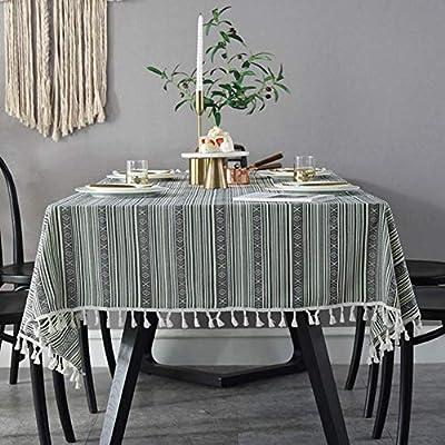 Toechmo - Mantel de tela de lino y algodón, resistente al polvo ...
