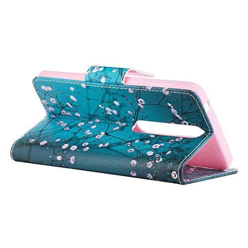 Funda para Nokia 6 2018,Grandcaser Double Layer Protectora Funda Suave PU Leather Cuero Libro Flip Estuche de Silicona Bumper Flexible Cover Carcasa - Árbol Pequeño Plum Blossom