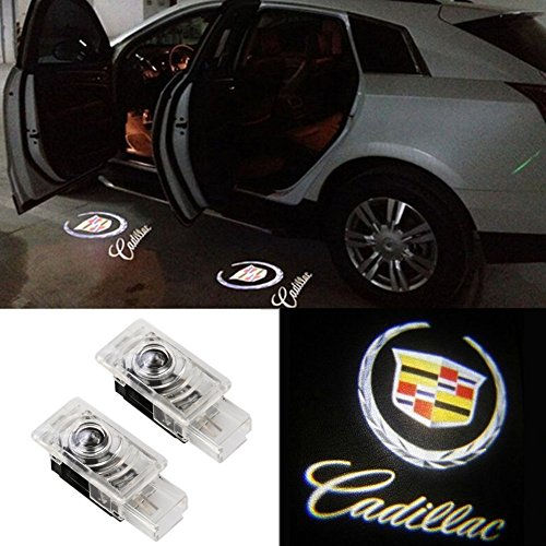 Grolish 2 Pcs Wireless Car Door Led Welcome Projector Logo Light Ghost Light Shadow Light for CADILLAC