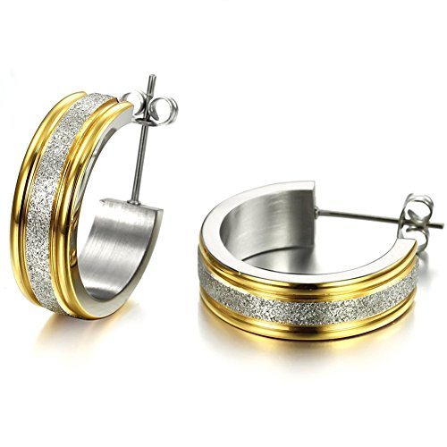 018 - Robert Matthew Zoe 18k Yellow Gold Small Hoop Earrings, Tiny Hoop Earrings for Women, Gold Plated Stainless Steel Druzy Earrings, Small Silver Dangling Earring - MSRP $88.99 ()