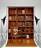 3x5ft Lfeey Vinyl Photography Background Backdrops Room Wood Bookshelf Bookcase Wooden Floor Chair Toy Bear Classical Book Collection Vintage Ancient Studio Photo Props 1x1.5m Customized THIN FOLDED
