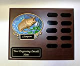 Fishing Perpetual Plaque, 12 Year Fishing Award, Plaque, Trophy w/Engraving