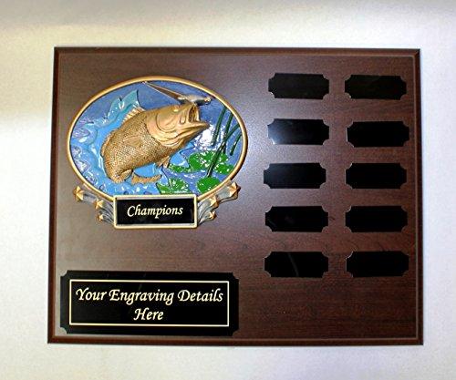 Fishing Perpetual Plaque, 12 Year Fishing Award, Plaque, Trophy w/Engraving (Perpetual Award)