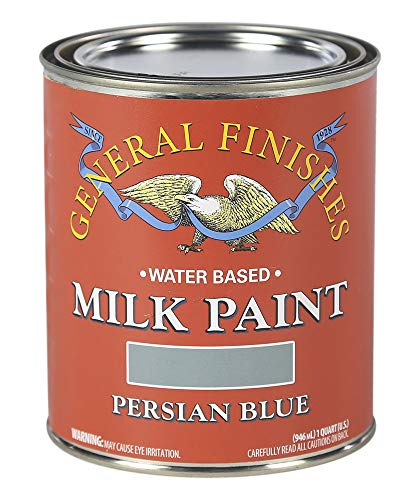 General Finishes QPB Water Based Milk Paint, 1 Quart, Persian Blue