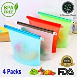 Silicone Food Storage Bags 4 Packs by A Thousand Trees   ECO-Friendly Reusable Large 1 Litre   Airtight, Leak Proof, Heat Resistant   Freezer, Microwave and Dishwasher Safe