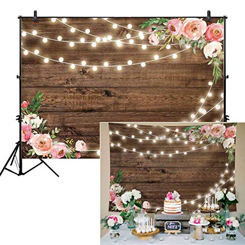 Allenjoy 7x5ft Fabric Rustic Floral Wooden Backdrop for Baby Shower Bridal Wedding Studio Photography Pictures Brown Wood Floor Flower Wall Background Newborn Birthday Party Banner Photo Shoot Booth -