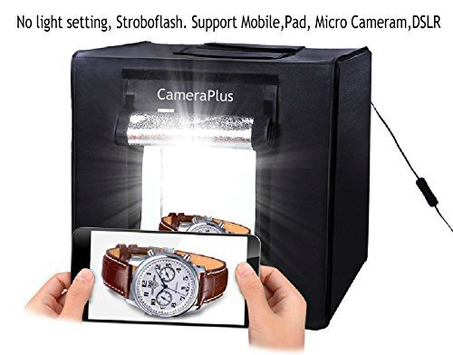 CameraPlus - 60cm Professional Portable Photo Studio Home Light Box Cube Tent with LED Lights (60CM Lightbox with LED Lights) by Cameraplus