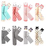 Girls Animal Tube Socks Cotton Stocking Socks Knee High Socks for Toddlers Kids 3-12Y (Pack of 8 Pairs)