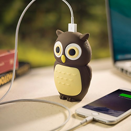 Portable Charger Power Bank 6700mAh w/ USB LED Light, Bone Collection Cute Animal 3D Cartoon Character Charging External Battery Pack Silicone Case for iPhone iPad Android Smartphone Tablet Kids -Owl