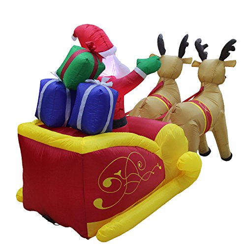 VOCOO Christmas Inflatable Santa in Sleigh With Reindeer Outdoor art Decoration by VOCOO (Image #4)