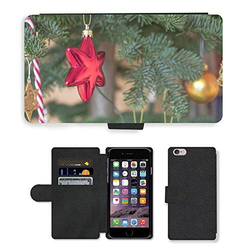 "PU Leder Wallet Case Folio Schutzhülle // M00154745 Stern-Poinsettia Red Christmas // Apple iPhone 6 PLUS 5.5"""