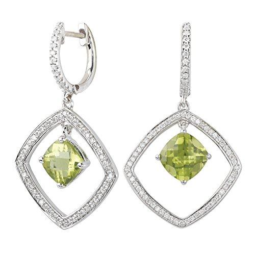 14k White Gold, Peridot & Diamond Halo Drop Earrings (Element Peridot Ring)