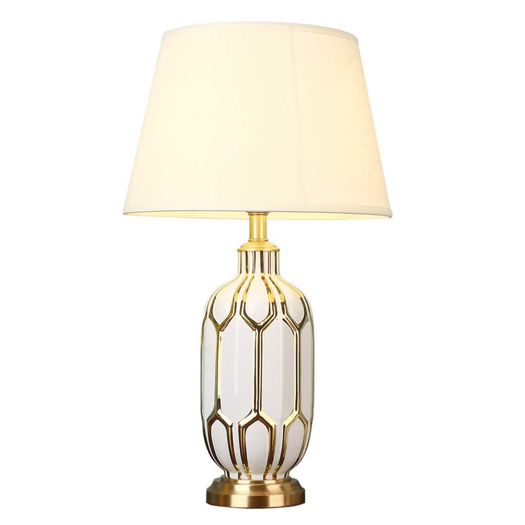ラグジュアリーリビングルームティーテーブルランプシンプルな高級ベッドルームベッドサイドセラミックライトホテルモデルルーム純銅卓上ランプ B07GBYQP62
