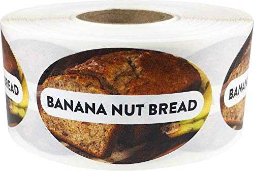 Banana Nut Bread Grocery Store Food Labels 1.25 x 2 Inch Oval Shape 500 Total Adhesive Stickers ()