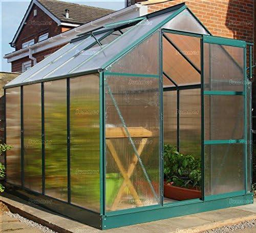 Invernadero de policarbonato – verde, puerta corredera, sin ventilación, incluye base y anclajes: Amazon.es: Jardín