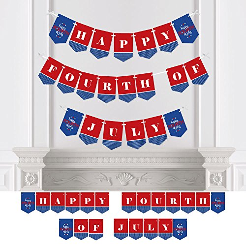 Big Dot of Happiness 4th of July - Independence Day Party Bunting Banner - 4th of July Party Decorations - Happy Fourth of July by Big Dot of Happiness
