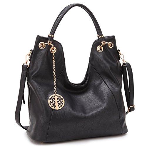 Tassel Accented Hobo Handbag - Womens Large Fashion Shoulder Bag Top Handle Handbag Designer Hobo Tote Satchel Purse (black new)