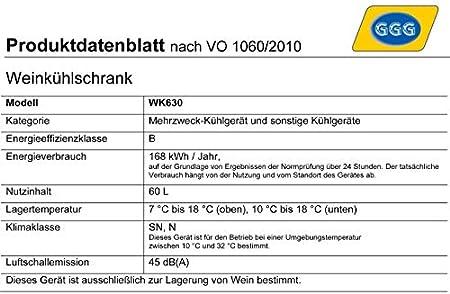 GGG Caso Profesional Frigorífico para 21Botellas de Vino, 2Zonas de Temperatura, 7–18°C y 10–18°, WK630