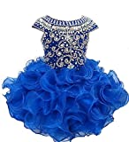 Wenli Little Girls Beaded Bodice Cupcakes Short Pageant Dresses 2 Royal Blue