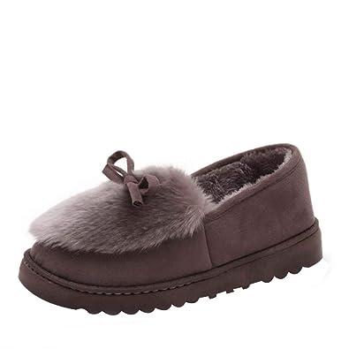 Huatime Winter Bogen-Knot Schuhe Stiefeletten Flat Fell Gefütterte  Schneestiefel - Damen Startseite Slipper Weiches 180f6be8af