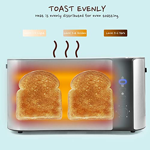 Elite Gourmet ECT-3100 Maxi-Matic 4-Slice Long Toaster 6 Toasting Levels & Extra Wide Slots for Bagels, Waffles… Salted Salad