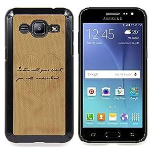 Planetar ( Escritura del amor del corazón del papel de Brown del café ) Samsung Galaxy J2 / J200 Fundas Cover Cubre Hard Case Cover