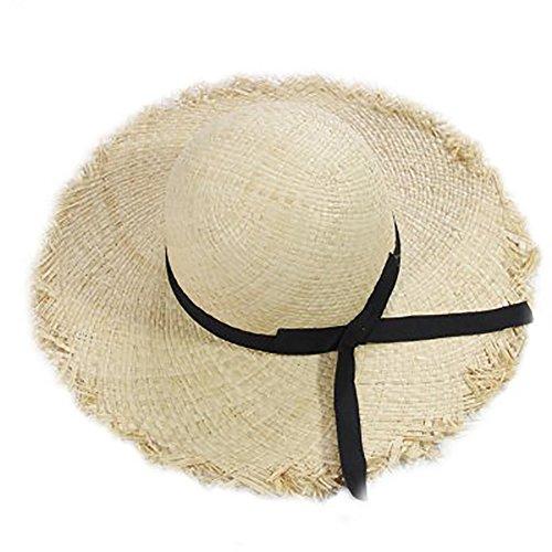 Women's Kids Girls UPF 50+ Wide Brim Floppy Fringed Beach Summer Straw Sun Hat
