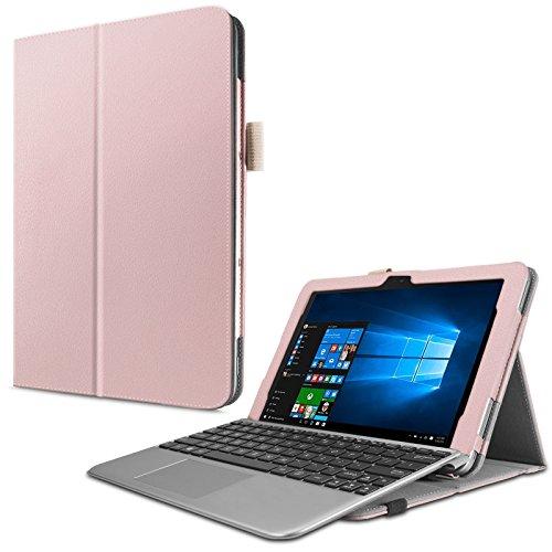Infiland Asus Transformer Mini T102HA Case, Premium PU Leather Portfolio Stand Cover Case for ASUS 10.1 Transformer Mini T102HA-D4-GR 2 in 1 Touchscreen Laptop, Rose-Gold