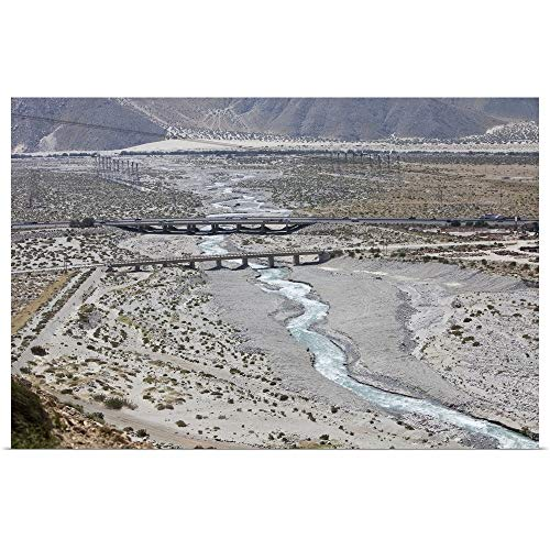 GREATBIGCANVAS Poster Print Entitled The Whitewater River Flows Under The Interstate Outside of Palm Springs, CA by 18
